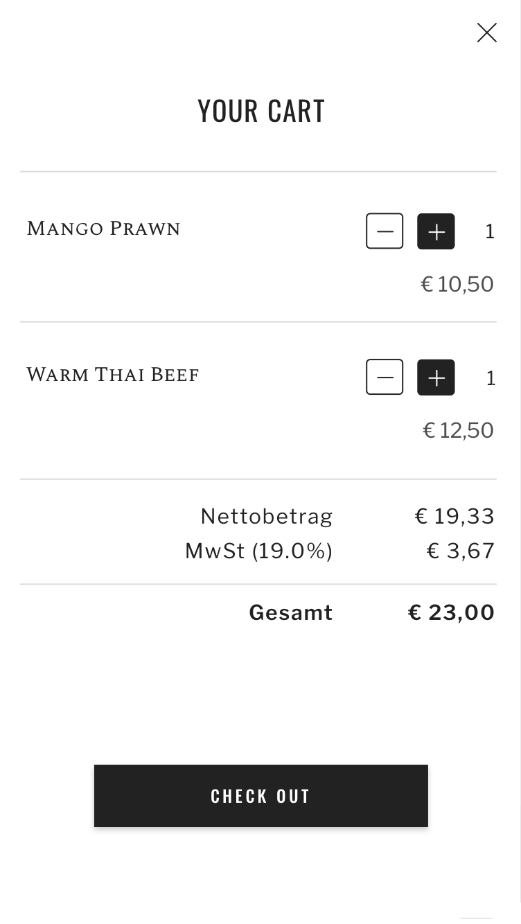 Shopping cart of the seatris app to which two dishes have been added
