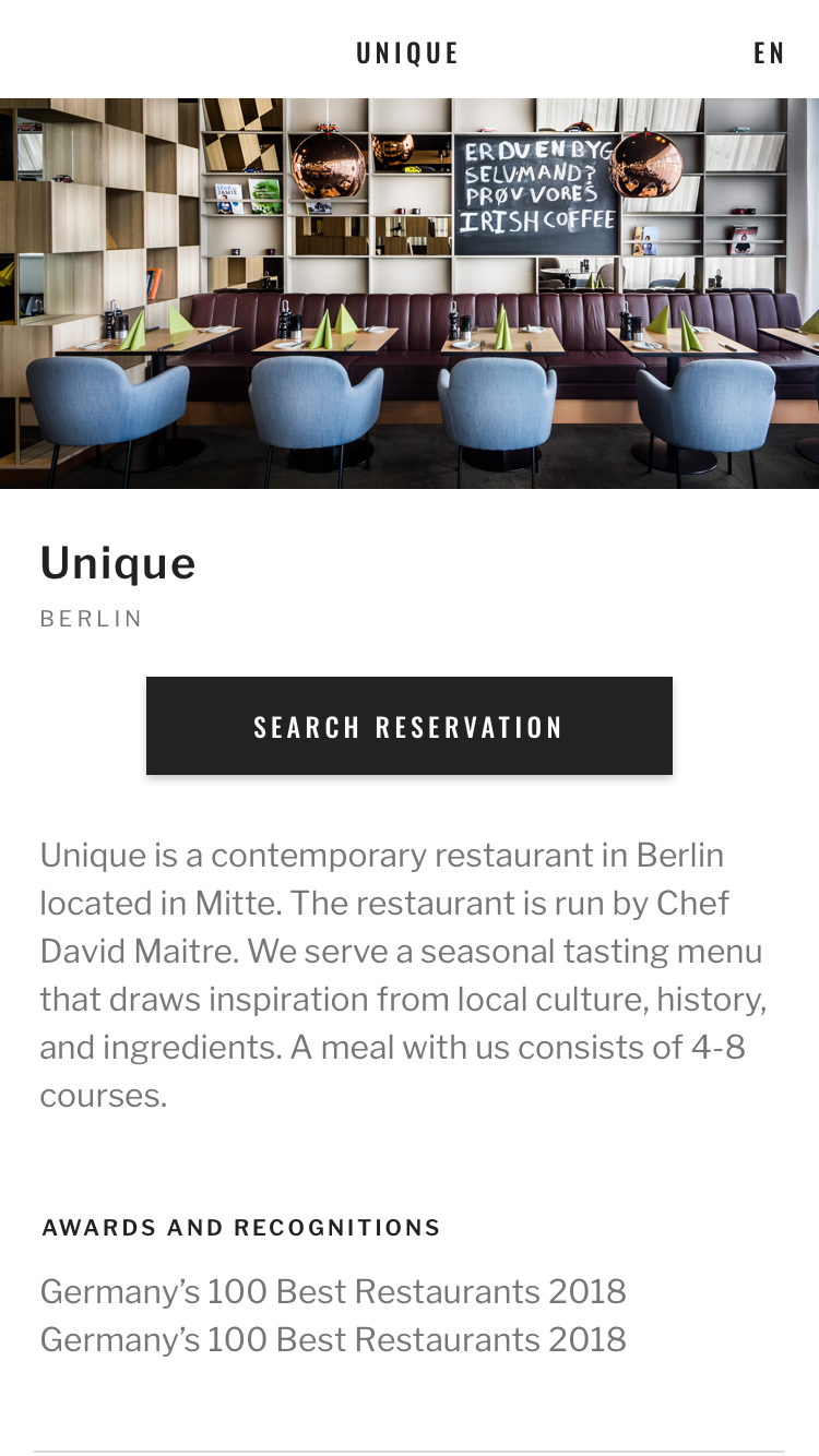 Screen from the Seatris app with the option to reserve a table in the restaurant featured.