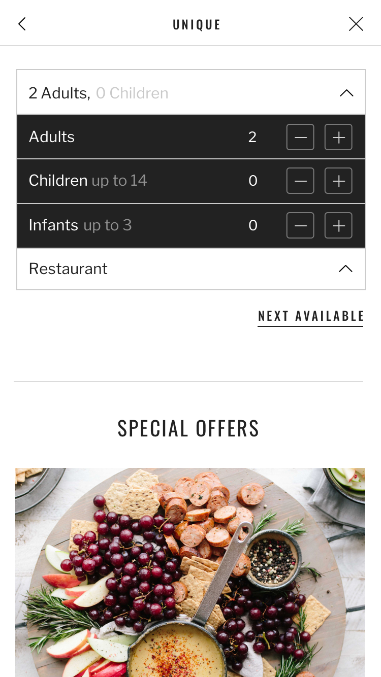 Screen from the Seatris app with various choices via dropdown menu
