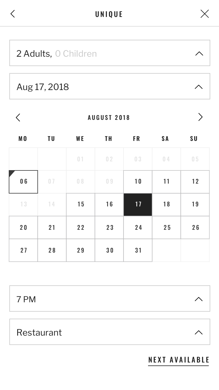 Screen with the calendar view for the reservation from the Seatris app