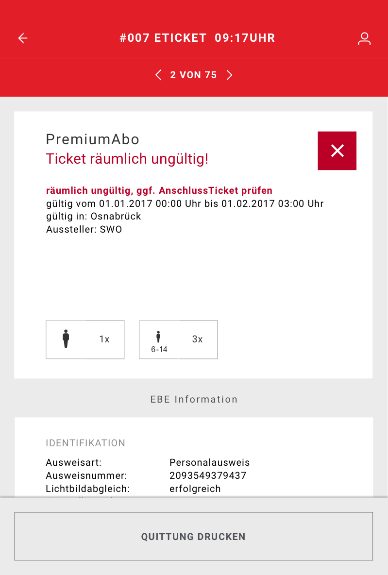 Screen of the application showing the invalidity of a ticket