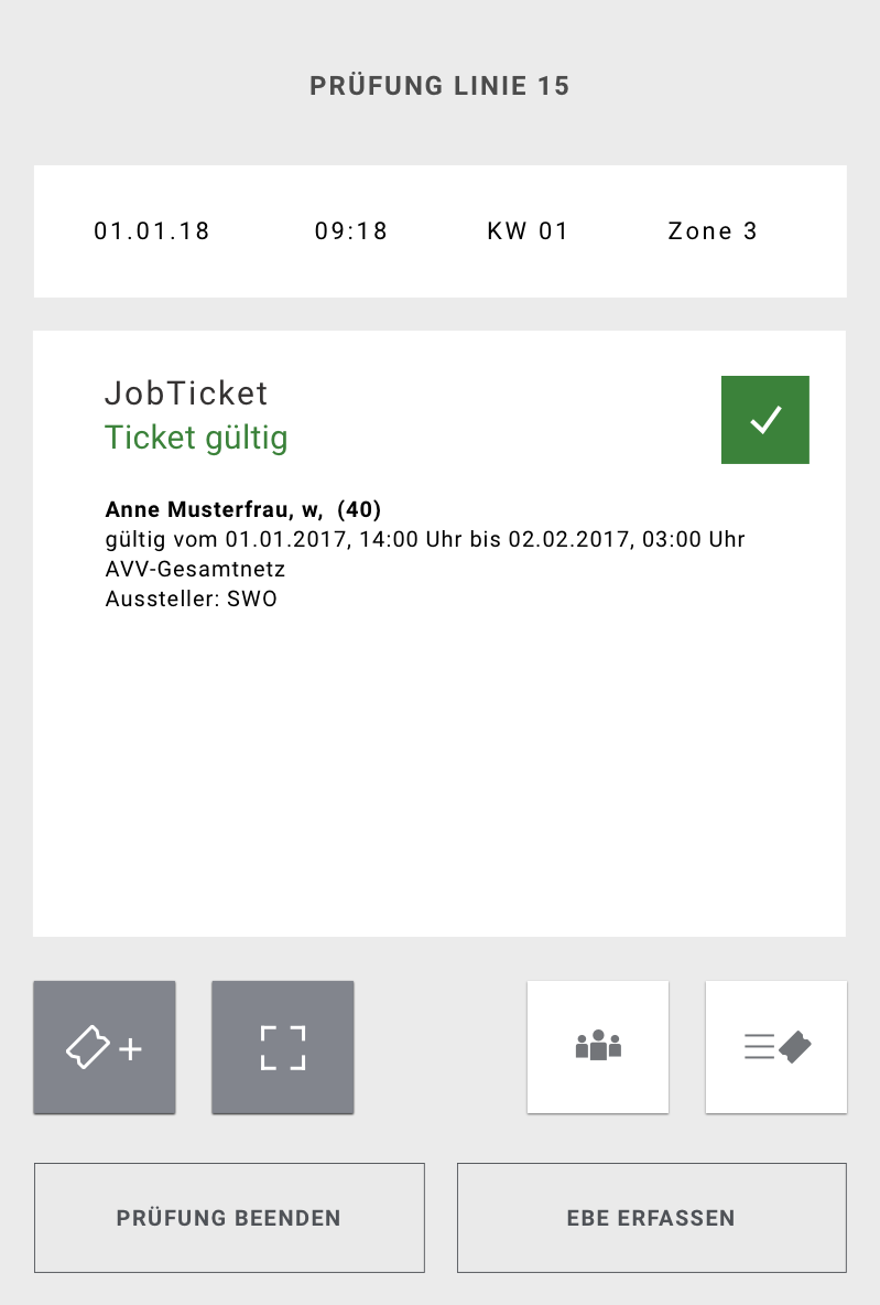 Screen of the application showing the confirmation of the validity of a ticket
