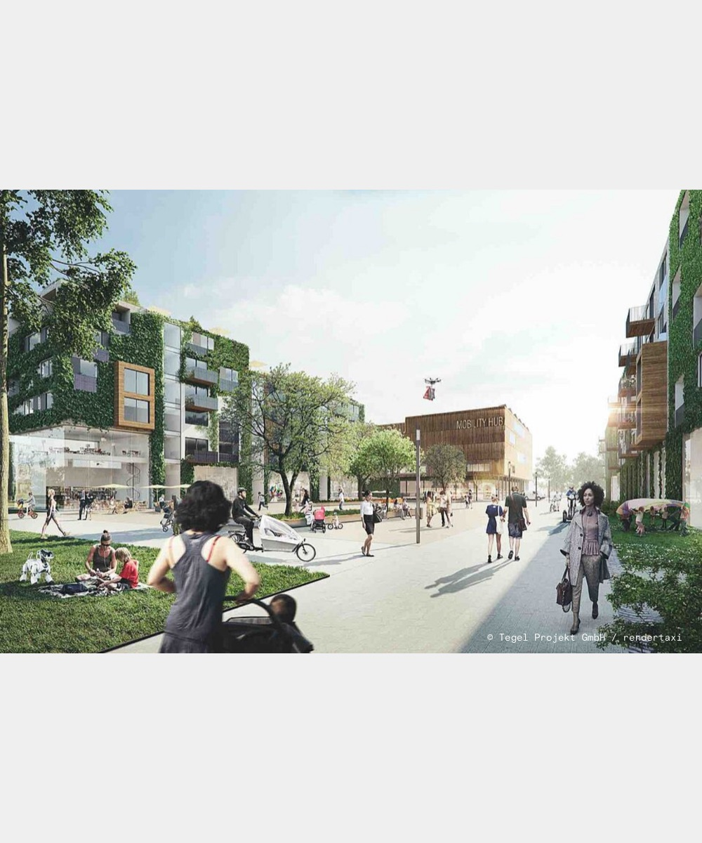 Example picture of the future Schumacher Quartier within the residential area