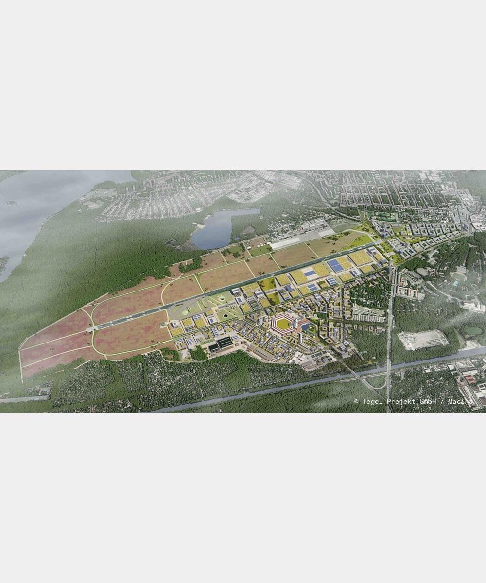 Example of a bird's eye view of the future Schumacher Quartier