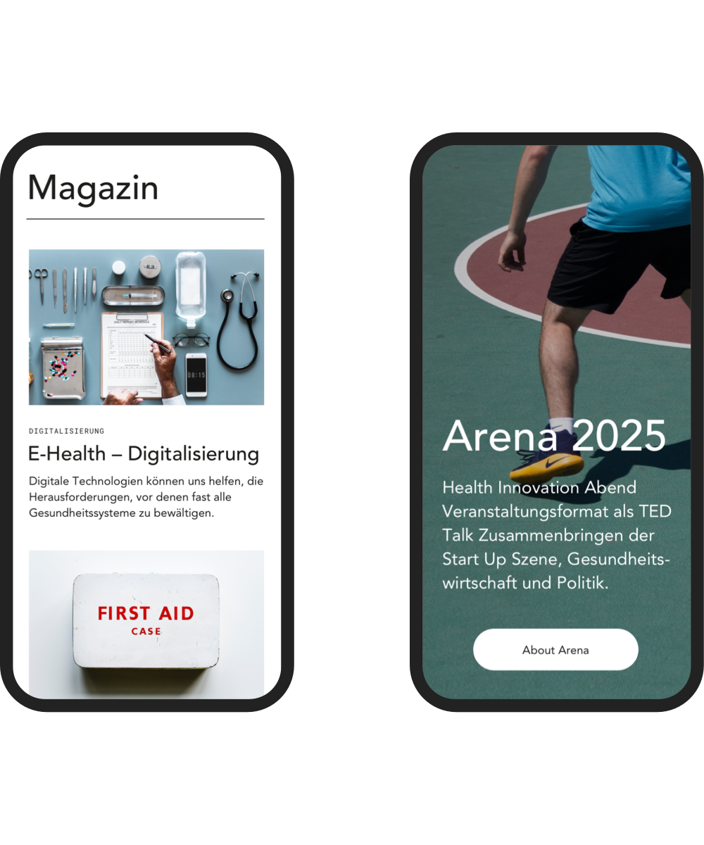 Two screens of the mobile view of the design of the hih displaying the start page of the magazine and Arena 2025.