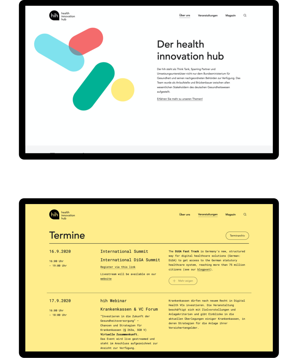 Views of two wide screens of the corporate design of the hih
